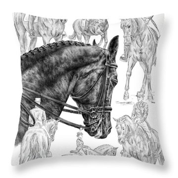 Contemplating Collection - Dressage Horse Drawing Throw Pillow