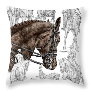 Contemplating Collection - Dressage Horse Print Color Tinted Throw Pillow