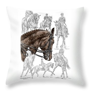 Throw Pillow featuring the drawing Contemplating Collection - Dressage Horse Print Color Tinted by Kelli Swan