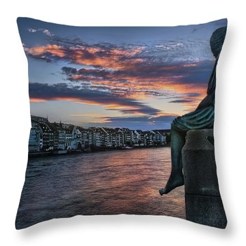 Contemplating Life In Basel Throw Pillow by Carol Japp