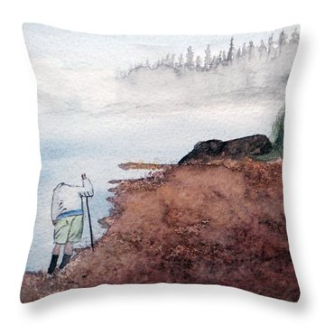 Contemplating  - Hunting Agates On A Remote Shore Throw Pillow by R Kyllo