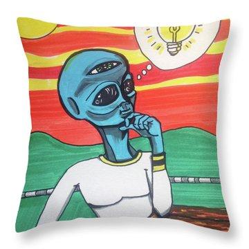 Contemplative Alien Throw Pillow