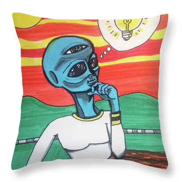 Throw Pillow featuring the painting Contemplative Alien by Similar Alien