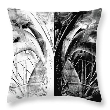 Contemporary Art - Black And White Embers 1 - Sharon Cummings Throw Pillow by Sharon Cummings
