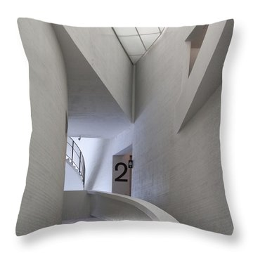 Contemporary Art Museum Interior Throw Pillow by Margaret Brooks