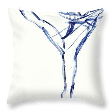 Contemporary Ballet Dancer, Blue Throw Pillow
