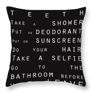 Contemporary Bathroom Rules - Subway Sign Throw Pillow