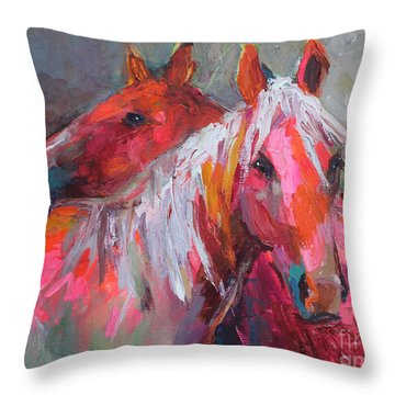 Contemporary Horses Painting Throw Pillow