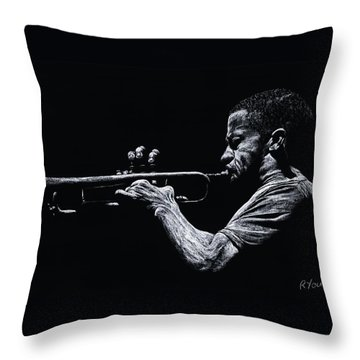 Contemporary Jazz Trumpeter Throw Pillow