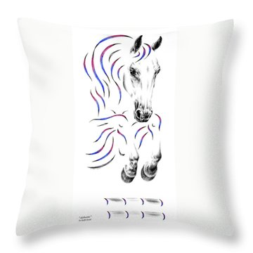 Contemporary Jumper Horse Throw Pillow by Kelli Swan