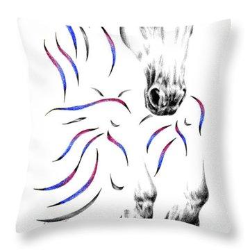 Contemporary Jumper Horse Throw Pillow