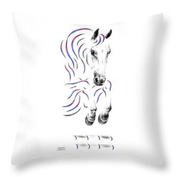Contemporary Jumper Horse Throw Pillow