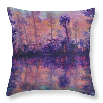Contemporary Nature Painting Tropical Lake Sunset Throw Pillow