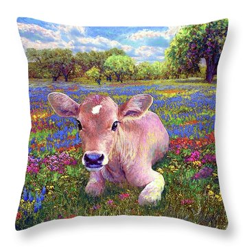 Contented Cow In Colorful Meadow Throw Pillow