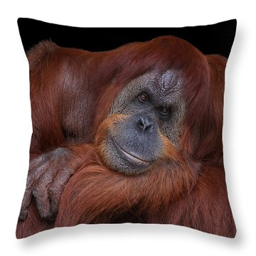 Contented Orangutan Throw Pillow