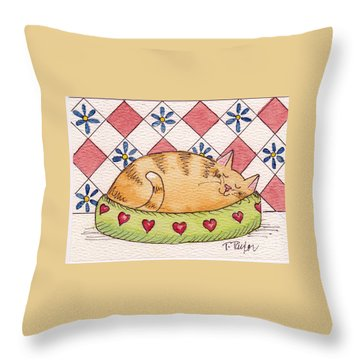 Contented Kitty Throw Pillow by Terry Taylor