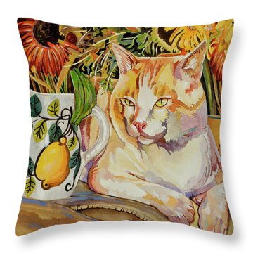 Throw Pillow featuring the painting Contentment by Bob Coonts