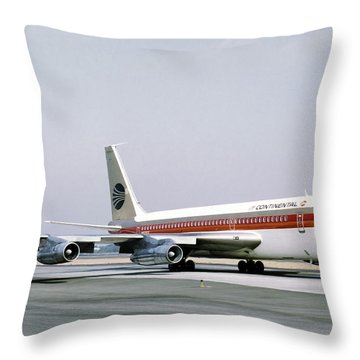 Continental Airlines 720-024b N17207 Los Angeles July 22 1972 Throw Pillow by Brian Lockett
