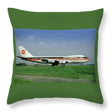 Continental Airlines Boeing 747-243b, N605pe, October 1988 Throw Pillow