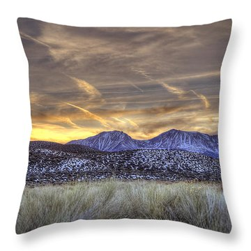 Contrails And Sage Brush Throw Pillow