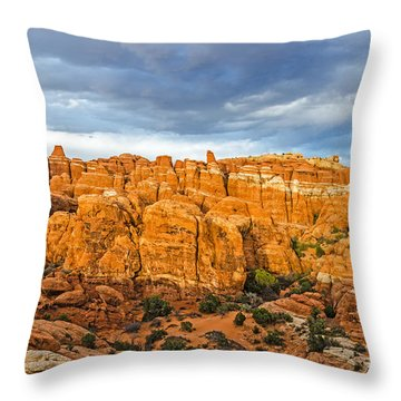 Contrasts In Arches National Park Throw Pillow by Sue Smith