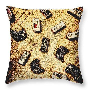 Controllers Of Retro Gaming Throw Pillow
