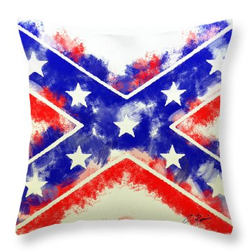 Throw Pillow featuring the digital art Controversial Flag by Charlie Roman