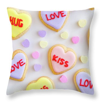 Throw Pillow featuring the photograph Conversation Heart Cookie Love by Teri Virbickis