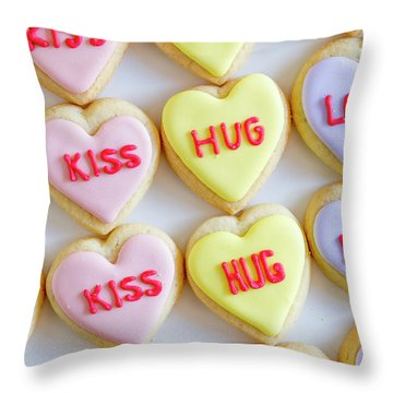 Throw Pillow featuring the photograph Conversation Heart Decorated Cookies by Teri Virbickis