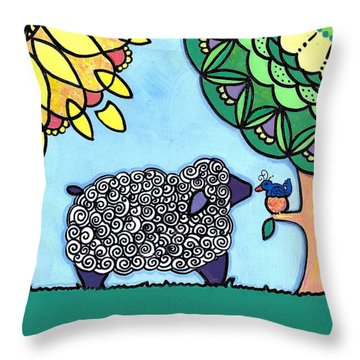 Throw Pillow featuring the painting Conversation With A Bird by Caroline Sainis
