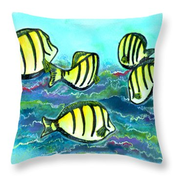 Convict Tang Fish #209 Throw Pillow by Donald k Hall