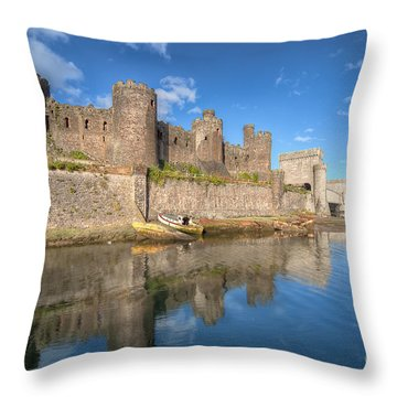 Conwy Castle Throw Pillow by Adrian Evans