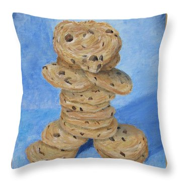 Throw Pillow featuring the painting Cookie Monster by Nancy Nale