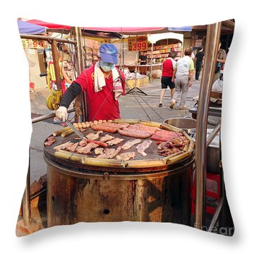 Throw Pillow featuring the photograph Cooking Meat And Eggs On A Huge Grill by Yali Shi
