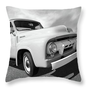 Cool As Ice - 1954 Ford F-100 In Black And White Throw Pillow