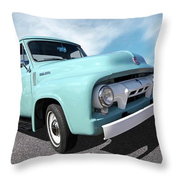 Cool As Ice - 1954 Ford F-100 Glacier Blue Throw Pillow
