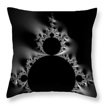 Cool Black And White Mandelbrot Set Throw Pillow