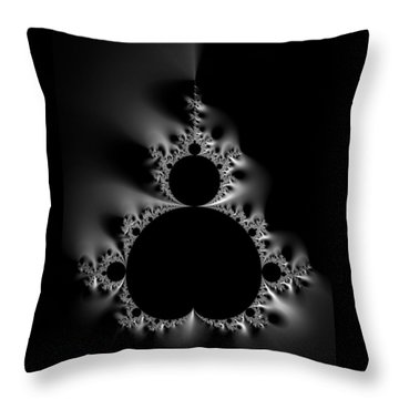 Cool Black And White Mandelbrot Set Throw Pillow