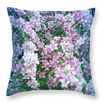 Throw Pillow featuring the photograph Cool Blue Beautiful Blossoms by Aimee L Maher Photography and Art Visit ALMGallerydotcom