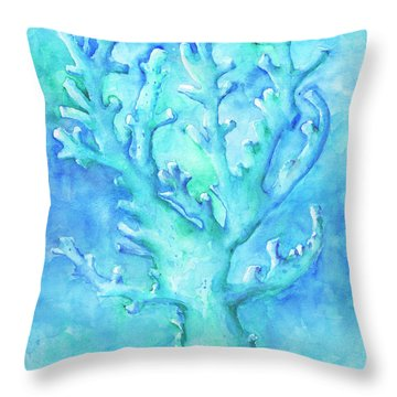 Cool Blue Coral Throw Pillow