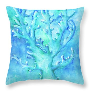 Throw Pillow featuring the painting Cool Blue Coral by Arthur Fix