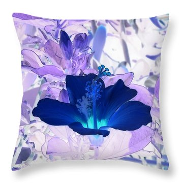 Cool Blue Hawaiian Hibiscus Throw Pillow