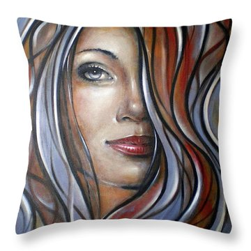 Throw Pillow featuring the painting Cool Blue Smile 070709 by Selena Boron