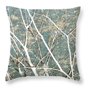 Throw Pillow featuring the digital art Cool Branches by Ellen Barron O'Reilly
