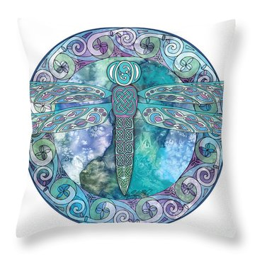 Throw Pillow featuring the mixed media Cool Celtic Dragonfly by Kristen Fox