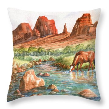 Throw Pillow featuring the painting Cool, Cool Water by Marilyn Smith