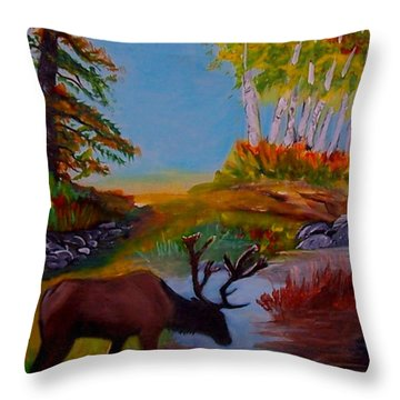 Throw Pillow featuring the painting Cool Drink by Leslie Allen