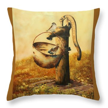 Cool Drink Of Water Throw Pillow