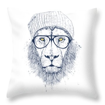 Cool Lion Throw Pillow by Balazs Solti