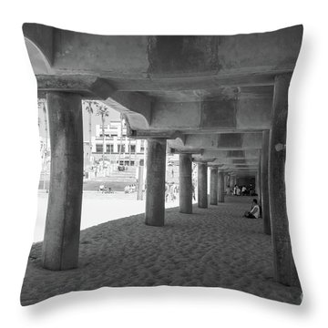 Throw Pillow featuring the photograph Cool Off In The Shade Of The Pier by Ana V Ramirez